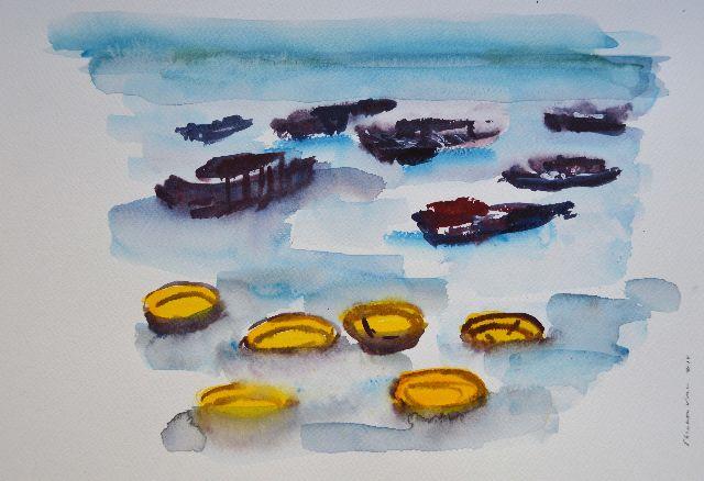 Boat, Hoi-AN vietnam,water,boot,riet,Hội An,Thatch