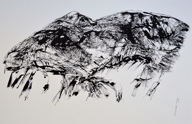 Sardinia,mountains,drawing,art,inkt