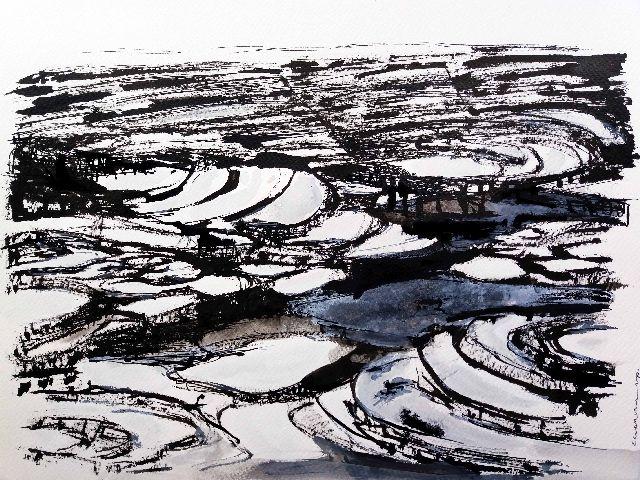 mai chau,rice fields,vietnam,drawing,valley,hut,riet,tam coc